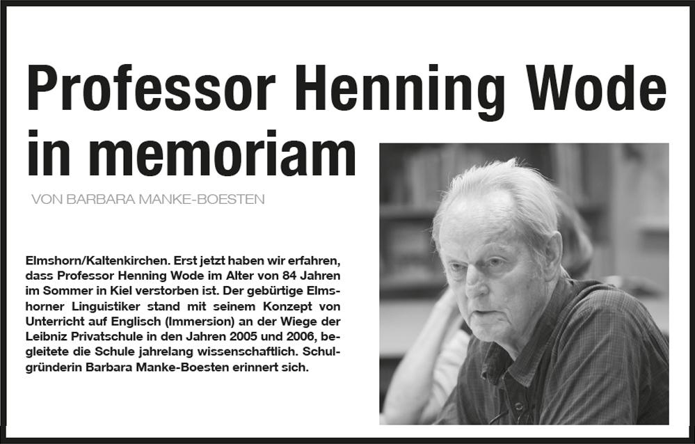 Professor Henning Wode in memoriam
